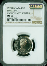 1973 CANADA 25 CENTS NGC MAC MS-68 PQ 2ND FINEST GRADE SPOTLESS .