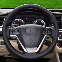 Black Genuine Leather DIY Car Steering Wheel Cover for Toyota Highlander 2018