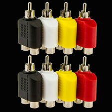 8x RCA Y Splitter AV Audio Video Plug Converter 1-Male to 2-Female Cable Adapter