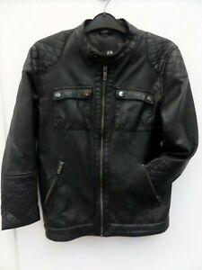 Girls Black Faux Leather Jacket Biker RIVER ISLAND Age 11 Years
