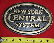 NEW YORK CENTRAL RR RAILROAD SYSTEM Vintage Brass Sign Plaque