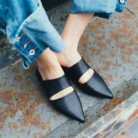 Womens Black Leather Pointed Toe Mules Shoes Flats Oxfords Sandals Slippers Hot