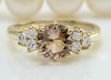 2.00 Carat Natural Peach MORGANITE and DIAMOND 14K Solid Yellow Gold Women Ring