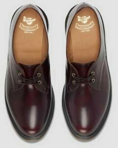dr martens brook lace up loafers oxfords derby cherry red burgundy leather