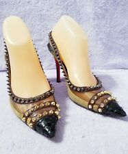 Christian Louboutin Spikes Multi-Colored Leather Slingback Heels Size 38