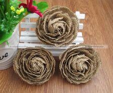 5pcs Hessian Jute Burlap Rose Shabby Chic Flowers Rustic Wedding Decor DIY