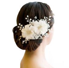 Romantic Whtie Lace Floral Hairwear Wedding Bride Hair Ornaments Pearl Headdress