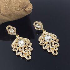 Tono Oro Cristal estilo colgantes pendientes de Araña Desplegable Con Pasador Diseñador Nuevo