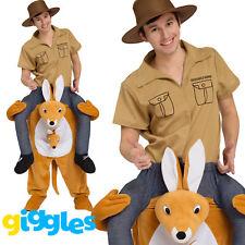 Kangaroo Piggy Back Ride On Me Mascot Mens Fancy Dress Carry Costume Stag Do