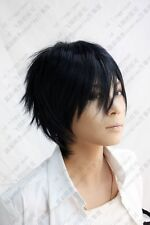 04 Ao no Exorcist Okumura Rin Short Blue Black Party Cosplay Wig free wig cap