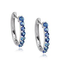 2.16ct Tanzanite Sterling Silver Clip on Huggie Hoop Earrings Women's Jewelry