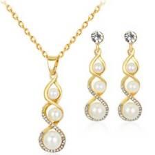 Women Pearl Beads Tassel Stud Earring Trendy Chain Necklaces Drop Jewelry Set