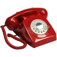 GPO 746 Telephone Retro Vintage Style Desk Phone Working Rotary Dial Red