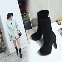 Fashion Women's Ankle Boots Round Toe High Heels Suede Platform Shoes Pull on