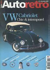 AUTO RETRO n°271 DECEMBRE 2003 VW CABRIOLET MERCEDES 300SL FIAT BARCHETTA