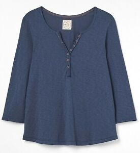 WHITE STUFF NAVY JERSEY STITCH IN TIME TEE-SHIRT TOP BLOUSE SZ 6/24 ONLY £13.95