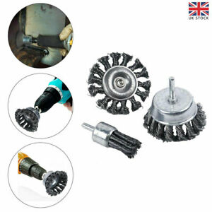 3pcs Rotary Steel Wire Brush Drill Attachment Cup Wheel Set Tool Rust Removal UK