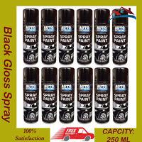 12 X Black Gloss Aerosol Spray Cans 250ml Car Van ETC Auto Extreme Spray Paint