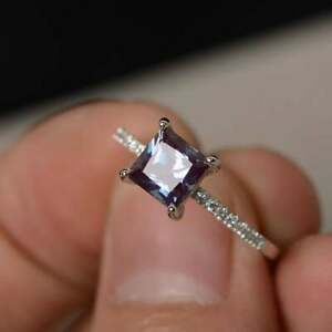 14K White Gold Plated Color Changing Square Alexandrite Solitaire Wedding Ring