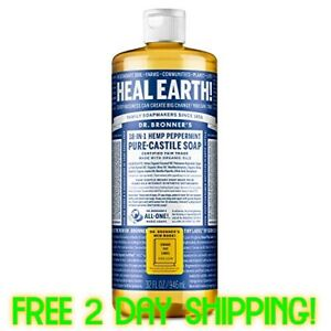Dr. Bronner's Pure-Castile Liquid Soap - Peppermint 32oz [FREE 2 DAY SHIPPING!]
