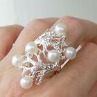 # R651 Grande Bague Argent Massif 925 véritables perles t55
