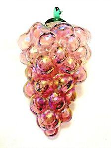 Murano Style Handblown Pearlized Art Glass Pink Pearline Grape Cluster