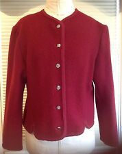 Walkloden Boiled Wool Jacket Austria Red Silver Buttons Trimmed Ladies 12 Large