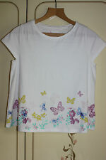 BN Pretty girls TU Butterfly Summer Cotton top White 12 years 152 cm adult UK 6
