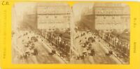 FRANCE Paris Rue de Rivoli Pavillon de Marsan, Photo Stereo Vintage Albumine