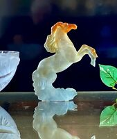 Daum Pate de Verre Crystal Wild Rearing Horse Signed Authentic with Box