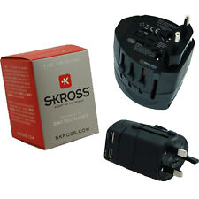 Skross Swiss World Travel Adapter 2 Converter Plug & USB Charger NEW EU/USA/Uk
