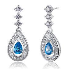 Topaz Drop/Dangle Sterling Silver Fine Earrings