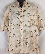 Vintage Hawaiian Moon Button Down Shirt Aloha Bamboo XL Handcrafted In Hawaii