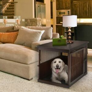 """NEW Wooden End Table Dog Crate Large Dark Brown 41.5"""" x 29.9"""" x 29.5"""""""