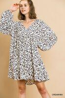 Umgee Cream Mix Animal Print Long Puff Sleeve V Neck Baby Doll Dress S M L