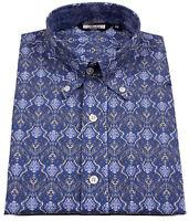 Relco Mens Blue Paisley Long Sleeve Cotton Shirt Button Down Collar Mod Vtg 60s