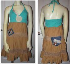 SO Wear It Declare It Halter Patchwork SunDress Multi-Color Peasant Dress Size M