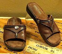 Minnetonka Women's Brown Leather Embellished Slides Mules Sandals Size 7