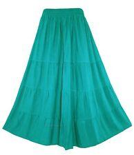 Turquoise Women BOHO Gypsy Long Maxi Tiered Skirt 3X 22