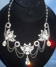 Kirks Folly Antique-Style Crystal Drape Teardrop Necklace-Hematite-Adjustable