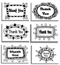 96 Thank You Cards & Envelopes 6 Doodle Frames Black White, Blank Note 4x6 New