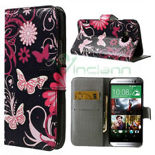 Custodia BOOKLET simil pelle per HTC One M8 STAND Butterfly nera tasche carte