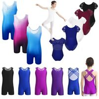 Girls Gymnastics Ballet Dance Leotard Kids Sleeveless Unitard Jumpsuits Bodysuit