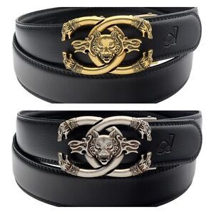 Mens Womens Casual Luxury Wolf Automatic Buckle Ratchet Belt For Men Gift Q19