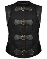 Devil Fashion Mens Steampunk Waistcoat Vest Top Black Dieselpunk Gothic Medieval