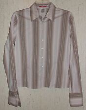 WOMENS AK ANNE KLEIN STRETCH KHAKI & IVORY STRIPE BLOUSE / SHIRT  SIZE 6