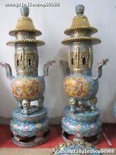 "52""Huge China Royal 100% Pure Bronze Gild Cloisonne Dragon PIXIU censer pair"