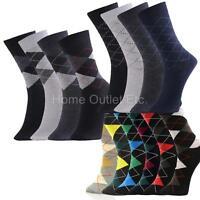 12 Pairs Mens Fashion Dress Socks Crew Stretch Blend Print Pattern Design 10-13
