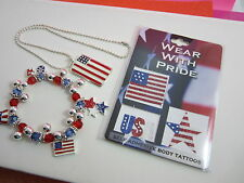 USA Patriotic Jewelry Assortment with Free USA Flag                 Body Tattoos