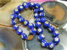 "Vintage Chinese Cloisonne Blue Enamel15mm Flower Bead NECKLACE 24"" Silk Cord"